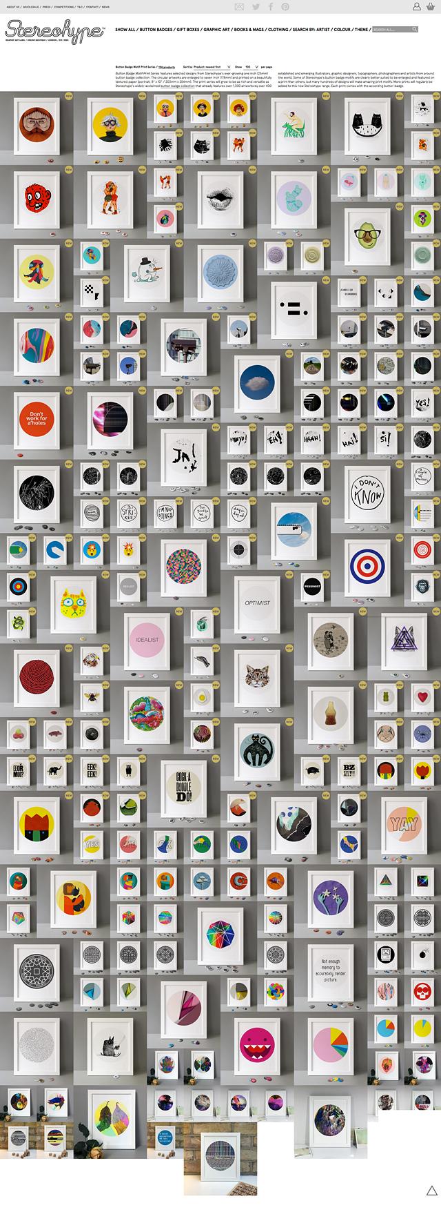 Now 194 Button Badge Motif Prints