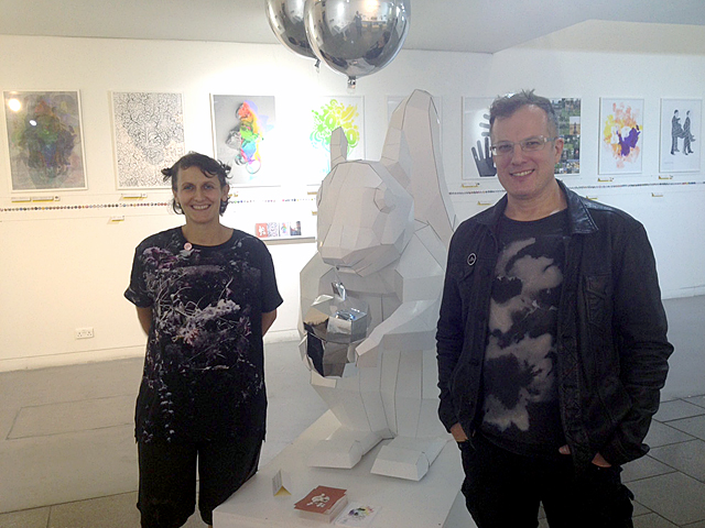 Agathe Jacquillat, Tomi Vollauschek and party squirrel after Stereohype 2004–2014 private view, September 2014, London