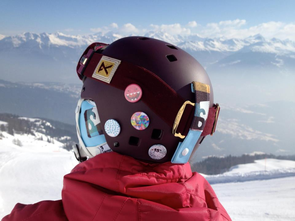 Stereohype badges on ski helmet