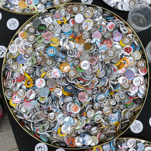 Button Badge Display at Illustrators' Fair London